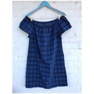 Madewell Off-Shoulder Plaid Dress
